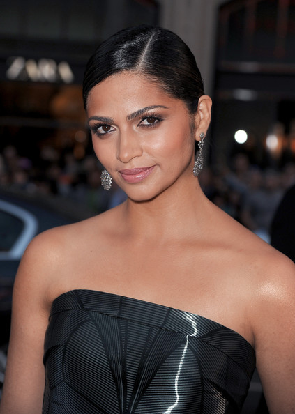 Camila Alves Chignon [hair,face,eyebrow,hairstyle,beauty,shoulder,lip,black hair,skin,fashion model,camila alves mcconaughey,red carpet,paramount pictures interstellar,california,hollywood,paramount pictures,tcl chinese theatre imax,premiere,premiere]