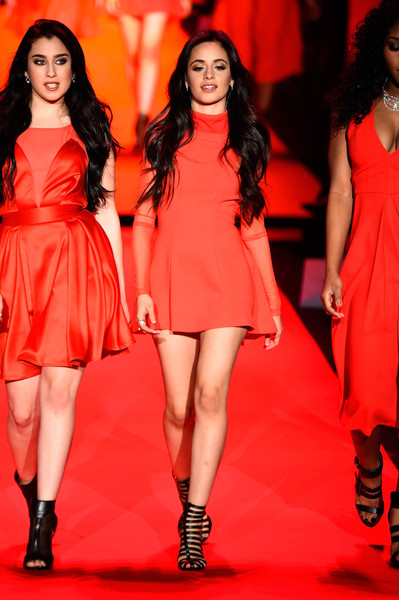 Camila Cabello Cutout Boots [fashion model,fashion,clothing,fashion show,red,shoulder,runway,dress,haute couture,event,camila cabello,fifth harmony,runway,the theatre,lincoln center,american heart association go red for women red dress collection,macys,go red for women red dress collection 2015,mercedes-benz fashion week,fashion show]