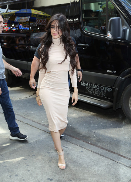 Camila Cabello Midi Dress [video,im in love with a monster,clothing,fashion,street fashion,lady,dress,shoulder,leg,footwear,waist,long hair,camila cabello,fifth harmony,times square,new york city,hotel transylvania 2,columbia pictures,sony pictures animation,world premiere of fifth harmony video for hotelt2 in times square]