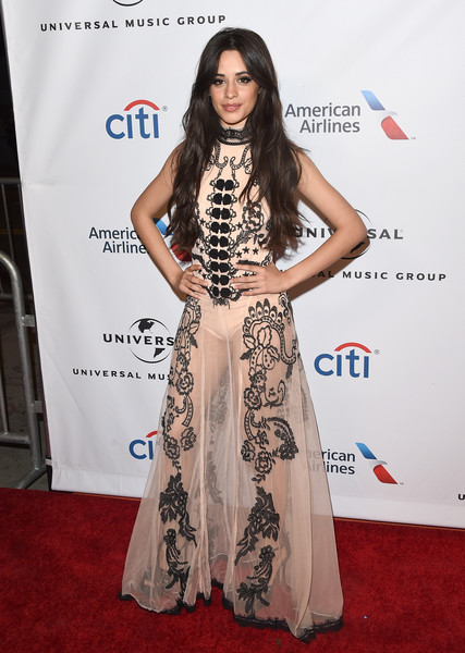 Camila Cabello Sheer Dress [red carpet,clothing,carpet,fashion,dress,premiere,flooring,hairstyle,fashion model,long hair,camila cabello,grammy,5th harmony,california,los angeles,the theatre at the ace hotel,universal music group,party,arrivals,party]