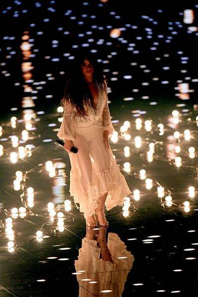 Camila Cabello Lace-Up Heels [light,fashion,water,performance,long hair,night,reflection,tree,dress,event,newark,new jersey,prudential center,mtv video music awards,show,camila cabello]