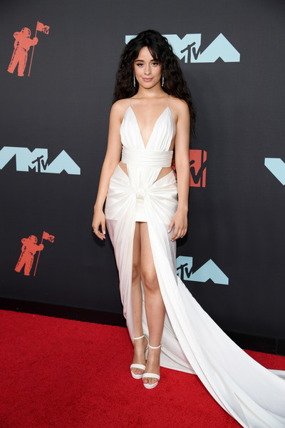 Camila Cabello Platform Sandals [clothing,dress,red carpet,shoulder,carpet,fashion model,strapless dress,cocktail dress,leg,premiere,arrivals,camila cabello,mtv video music awards,prudential center,newark,new jersey]