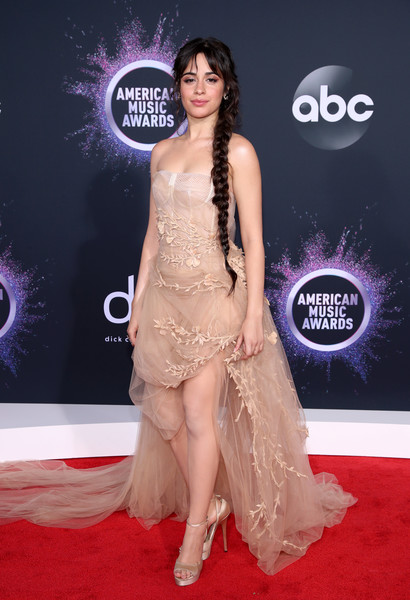 Camila Cabello Platform Sandals [red carpet,carpet,clothing,dress,shoulder,flooring,fashion,hairstyle,premiere,fashion model,arrivals,camila cabello,american music awards,microsoft theater,los angeles,california]
