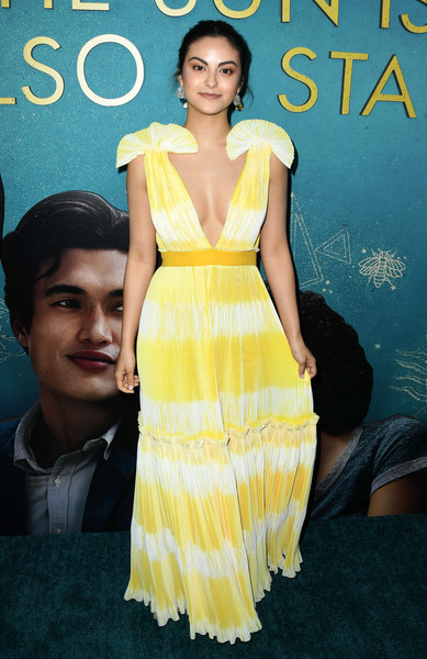 Camila Mendes Print Dress [the sun is also a star,dress,clothing,yellow,cocktail dress,fashion model,fashion,hairstyle,shoulder,premiere,fashion design,arrivals,camila mendes,grove,los angeles,california,pacific theaters,warner bros,world premiere of warner bros,world premiere]