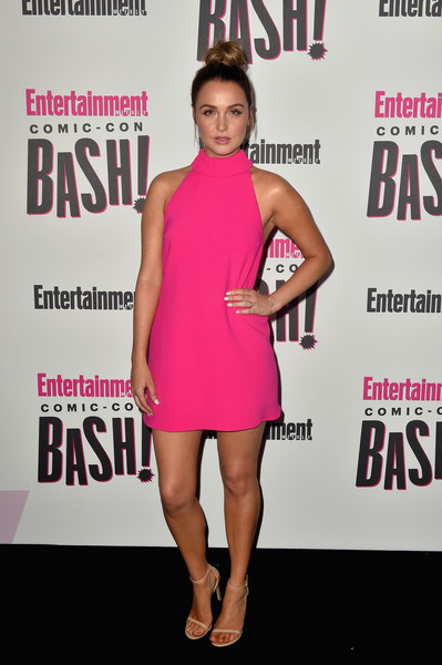 Camilla Luddington Strappy Sandals [clothing,dress,cocktail dress,premiere,pink,fashion,magenta,carpet,magazine,muscle,entertainment weekly comic-con celebration - arrivals,camilla luddington,float,san diego,hard rock hotel,california,entertainment weekly,hbo,comic-con bash]