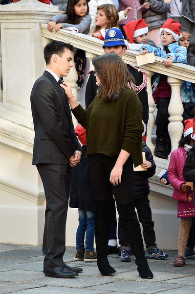 Camille Gottlieb Over the Knee Boots [snapshot,fashion,event,suit,tourism,formal wear,gesture,louis ducruet,camille gottlieb,christmas gifts distribution,gifts,distribution,monaco palace,christmas]