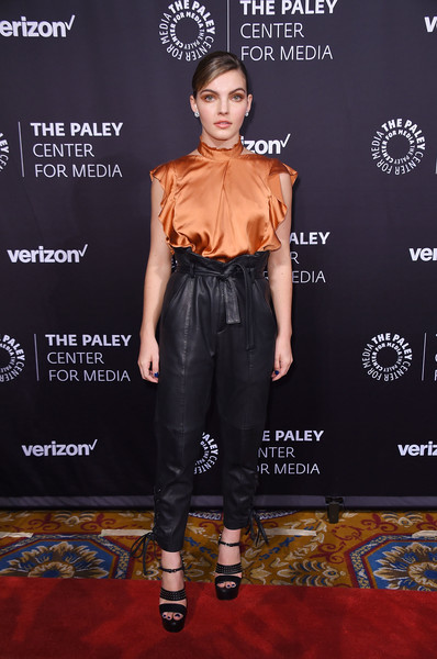 Camren Bicondova Studded Heels [paley honors: celebrating women in television,clothing,carpet,red carpet,fashion,footwear,flooring,premiere,muscle,event,trousers,camren bicondova,new york city,cipriani wall street,the paley honors: celebrating women in television,event]