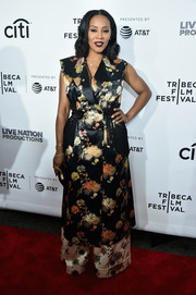 June Ambrose gave us glam vibes with this Dries Van Noten floral coat dress at the Tribeca Film Fest premiere of 'Can't Stop, Won't Stop.'