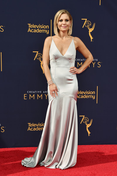 Candace Cameron Bure Mermaid Gown [red carpet,carpet,dress,clothing,shoulder,gown,flooring,premiere,hairstyle,fashion model,arrivals,candace cameron bure,creative arts emmy awards,los angeles,california,microsoft theater]