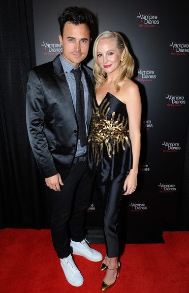 Candice Accola Jumpsuit [vampire diaries,red carpet,suit,clothing,carpet,premiere,fashion,formal wear,tuxedo,flooring,event,arrivals,candice accola,joe king,atlanta,georgia,episode celebration,the vampire diaries 100th episode celebration]