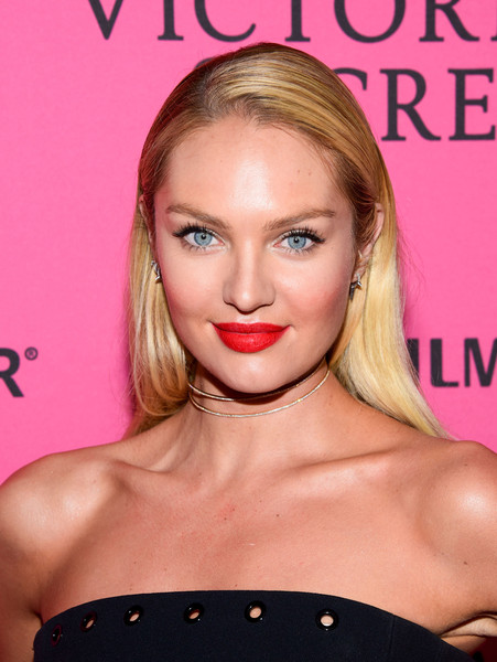 Candice Swanepoel Red Lipstick [hair,face,lip,blond,hairstyle,eyebrow,beauty,chin,cheek,pink,carpet arrivals,candice swanepoel,new york city,tao downtown,victorias secret fashion after party]