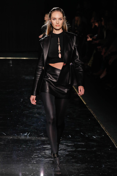 Candice Swanepoel Skirt Suit [fashion model,fashion show,fashion,runway,clothing,leather,latex clothing,haute couture,event,latex,versace pre-fall 2019 collection,candice swanepoel,versace fall,runway,new york city,the american stock exchange]