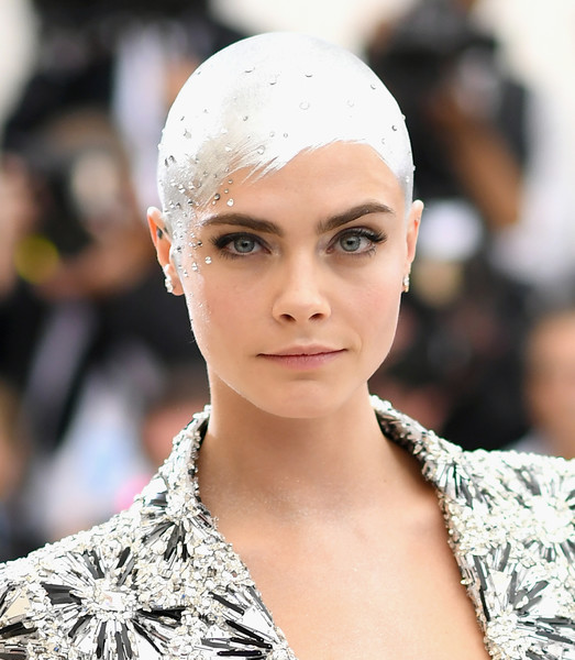 Cara Delevingne Bald [rei kawakubo/comme des garcons: art of the in-between,rei kawakubo/comme des garcons: art of the in-between,hair,fashion,eyebrow,lip,beauty,fashion model,haute couture,skin,hairstyle,eye,costume institute gala - arrivals,cara delevingne,new york city,metropolitan museum of art,costume institute gala]