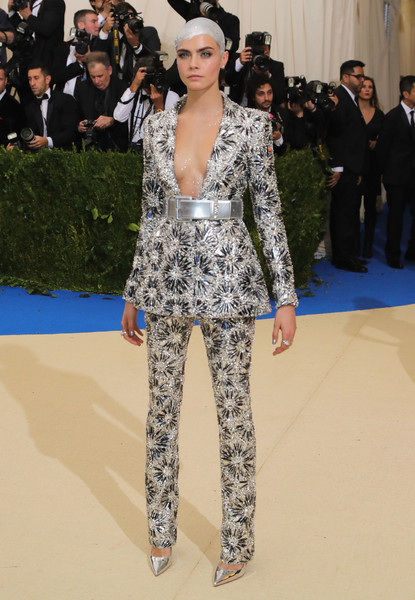 Cara Delevingne Pantsuit [rei kawakubo/comme des garcons: art of the in-between,rei kawakubo/comme des garcons: art of the in-between,fashion model,fashion,flooring,runway,catwalk,carpet,haute couture,suit,fashion show,red carpet,costume institute gala - arrivals,cara delevingne,new york city,metropolitan museum of art,costume institute gala]