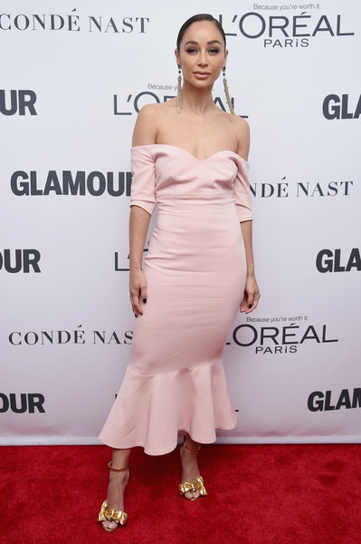 Cara Santana Off-the-Shoulder Dress [dress,clothing,shoulder,cocktail dress,strapless dress,joint,hairstyle,fashion model,fashion,premiere,arrivals,women of the year awards,cara santana,brooklyn,new york,kings theatre,glamour,glamour celebrates 2017 women of the year awards]