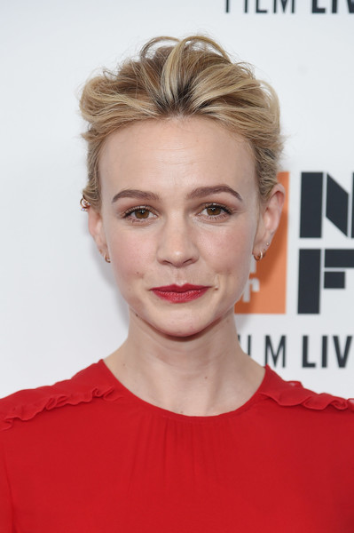 Carey Mulligan Messy Updo [hair,face,eyebrow,hairstyle,lip,blond,chin,forehead,beauty,skin,carey mulligan,mudbound red carpet,mudbound,new york city,alice tully hall,new york film festival,premiere]