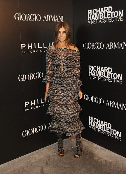 Carine Roitfeld Off-the-Shoulder Dress [richard hambleton: a retrospective art opening,clothing,dress,fashion,footwear,fashion design,fashion model,runway,shoe,style,fashion show,carine roitfeld,new york city,phillips de pury company,opening]