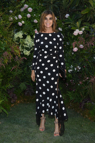 Carine Roitfeld Evening Sandals [pattern,clothing,polka dot,dress,design,day dress,grass,dance,plant,valentino,valentino haute couture fall winter 2018,carine roitfeld,front row,part,paris,france,paris fashion week,show]