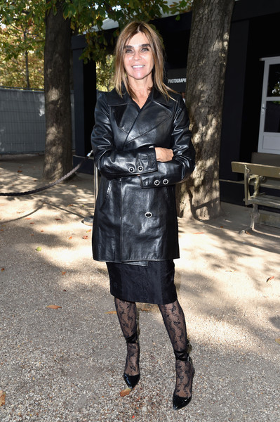 Carine Roitfeld Leather Coat [footwear,coat,fashion model,little black dress,fashion,jacket,trench coat,outerwear,leather jacket,flooring,carine roitfeld,front row,part,paris,france,elie saab,paris fashion week womenswear spring]
