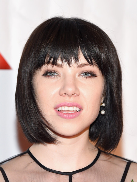 Carly Rae Jepsen Bob [face,hair,hairstyle,bangs,eyebrow,chin,bob cut,lip,black hair,head,new york city,marriott marquis hotel,songwriters hall of fame 46th annual induction and awards,carly rae jepsen]