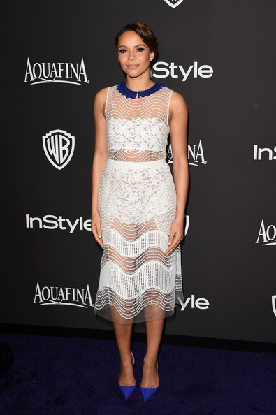 Carmen Ejogo Cocktail Dress [dress,clothing,fashion model,cocktail dress,shoulder,fashion,hairstyle,neck,premiere,joint,carmen ejogo,post-party - arrivals,beverly hills,california,the beverly hilton hotel,instyle,warner bros. 72nd annual golden globe awards,warner bros. 72nd annual golden globe awards post-party]