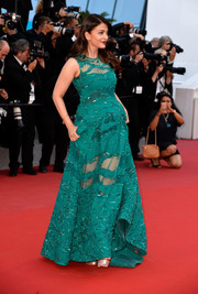 Aishwarya Rai chose a sleeveless green sheer-panel gown by Elie Saab for her 'Carol' premiere red carpet look.