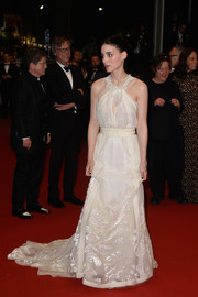 Rooney Mara looked angelic in a cream-colored Olivier Theyskens for Rochas halter gown, featuring a ruffled bodice and an embroidered skirt, during the 'Carol' premiere in Cannes.