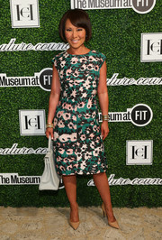 Alina Cho chose an abstract-print sheath dress for the Couture Council Award luncheon.