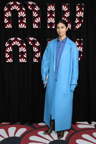 Caroline Issa Leather Coat [blue,formal wear,red,suit,carpet,event,flooring,costume,caroline issa,miu miu,part,paris,france,paris fashion week womenswear fall,photocall - paris fashion week womenswear fall,tuxedo m.,tuxedo,socialite]