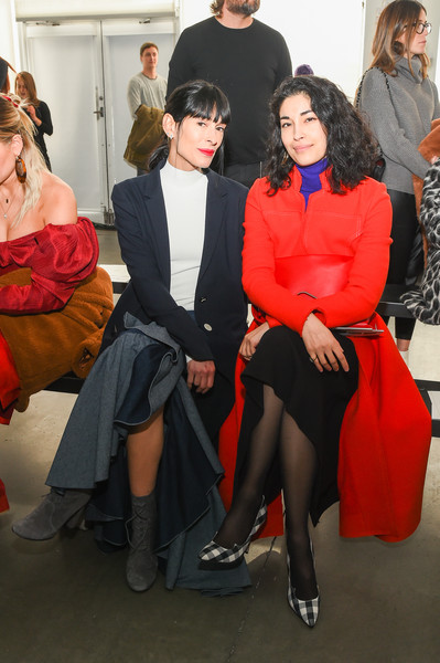 Caroline Issa Tights [red,fashion,beauty,sitting,fashion design,event,leg,dress,thigh,haute couture,caroline issa,athena calderone,hellessy - front row,new york city,pier 59,l,new york fashion week,fashion show]