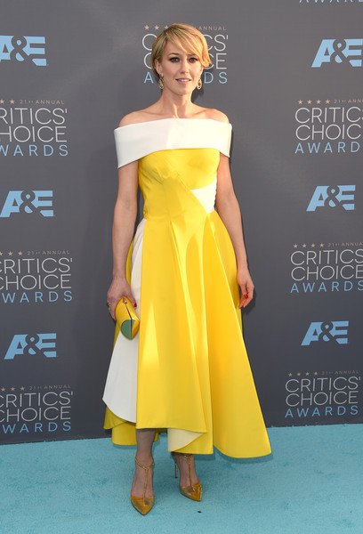 Carrie Coon Off-the-Shoulder Dress