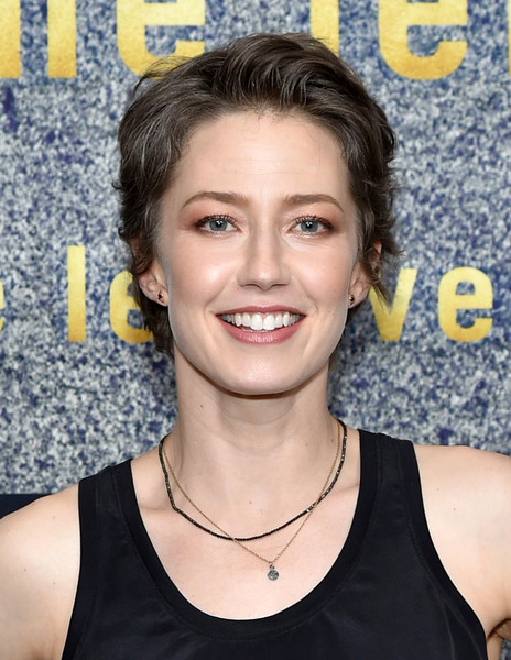 Carrie Coon Boy Cut [the leftovers,hair,eyebrow,hairstyle,chin,beauty,long hair,black hair,brown hair,layered hair,product,carrie coon,fyc new york,new york,fyc,metrograph,screening]
