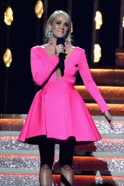 Carrie Underwood Cocktail Dress [pink,clothing,fashion,performance,dress,magenta,fashion model,event,formal wear,outerwear,carrie underwood,cma awards,nashville,tennessee,bridgestone arena,show]