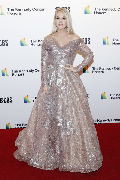Carrie Underwood Off-the-Shoulder Dress [red carpet,carpet,dress,clothing,hair,gown,flooring,shoulder,hairstyle,fashion,annual kennedy center honors,the kennedy center,washington dc,carrie underwood]