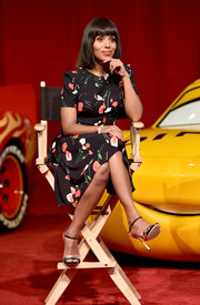 Kerry Washington kept it sweet and ladylike in a floral frock at the 'Cars 3' press conference.