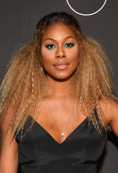 Laverne Cox looked striking wearing this teased, bobby-pinned hairstyle at the premiere of 'Glam Masters.'