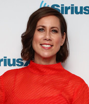 Miriam Shor sported a short curly hairstyle while visiting the SiriusXM studios.