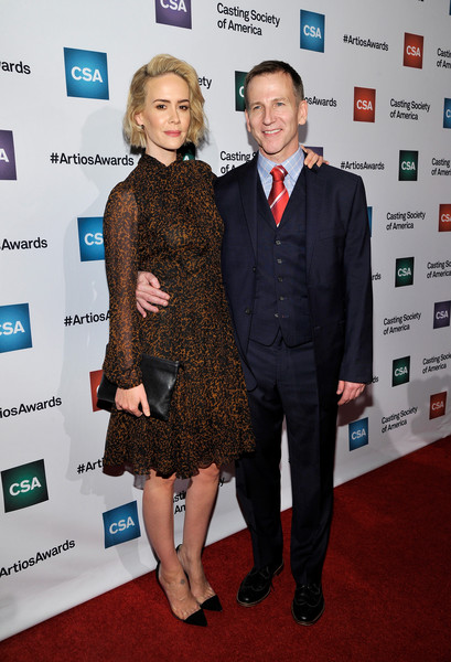 Sarah Paulson styled her dress with on-trend black PVC pumps.