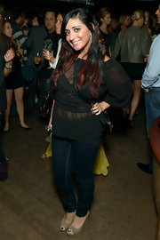 Angelina Pivarnick looked trendy at the Catch Roof anniversary party in her blue skinnies, sheer blouse, and nude peep-toes.