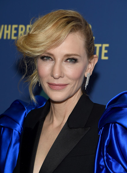 Cate Blanchett Dangling Diamond Earrings [whered you go bernadette,hair,face,hairstyle,blond,eyebrow,chin,beauty,electric blue,lip,forehead,bernadette,cate blanchett,new york,metrograph,screening,new york screening]