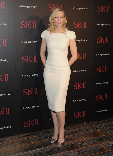 Cate Blanchett Pumps [dress,cocktail dress,clothing,shoulder,fashion model,premiere,hairstyle,fashion,joint,carpet,sk-ii,cate blanchett,photo call,changedestiny forum,andaz hotel,los angeles,california]