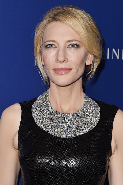 Cate Blanchett Diamond Statement Necklace [hair,face,hairstyle,blond,eyebrow,chin,beauty,lip,layered hair,neck,cate blanchett,costume designers guild awards,red carpet,beverly hills,california,the beverly hilton hotel,lacoste]