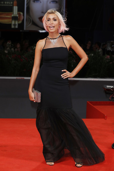 Caterina Balivo Mermaid Gown [red carpet,carpet,clothing,flooring,dress,fashion,premiere,hairstyle,event,shoulder,venice,italy,venice film festival,premiere,tommaso premiere - 73rd,caterina balivo,sala grande]