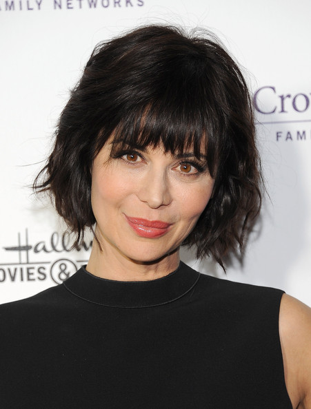 Catherine Bell Short Wavy Cut [hair,face,hairstyle,black hair,chin,eyebrow,bangs,shoulder,brown hair,lip,winter tca,arrivals,catherine bell,pasadena,california,tournament house,hallmark channel,party,catherine bell,hallmark channel,television,celebrity,actor,fashion,bangs,television critics association,television channel]