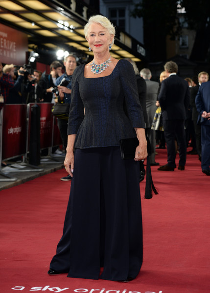 Helen Mirren donned a fitted midnight-blue top by Chalayan for the UK premiere of 'Catherine the Great.'