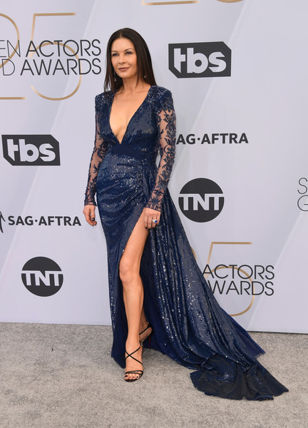 Catherine Zeta-Jones Sequin Dress [clothing,shoulder,red carpet,dress,carpet,thigh,fashion,leg,fashion model,joint,arrivals,catherine zeta-jones,screen actors guild awards,screen actors\u00e2 guild awards,california,los angeles,the shrine auditorium]