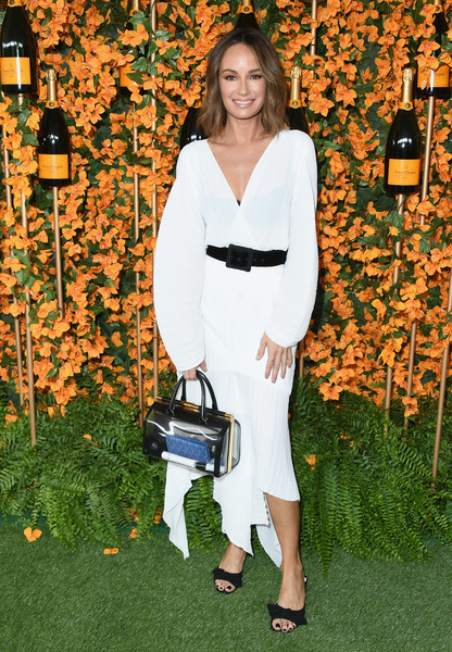 Catt Sadler Midi Dress [shoulder,clothing,dress,fashion,joint,footwear,grass,shoe,photography,cocktail dress,arrivals,catt sadler,los angeles,pacific palisades,california,will rogers state historic park,veuve clicquot polo classic]