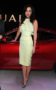 Megan Fox dazzled in taupe patent platform Orlando sandals at the Jaguar E-Type 50th Anniversary.