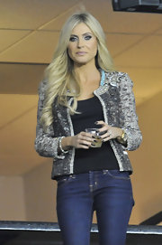 Claudine Keane jazzed up her jeans and tank with this gorgeous embellished jacket.
