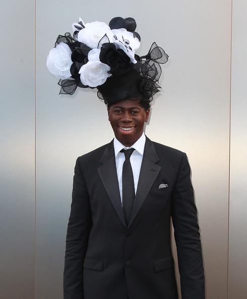 'America's Next Top Model' judge, J. Alexander is never the wallflower. The eccentric fashionisto wore a black hat topped with white and black flowers for Victoria Derby Day.